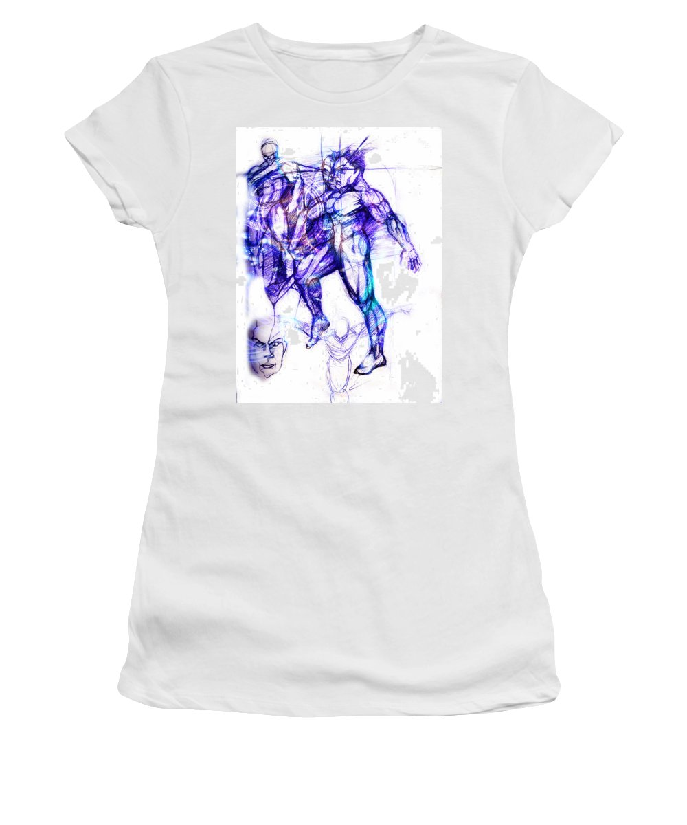 Dancers Women's T-Shirt (Athletic Fit) featuring the digital art Tribal Dancers by Isaac Feliciano