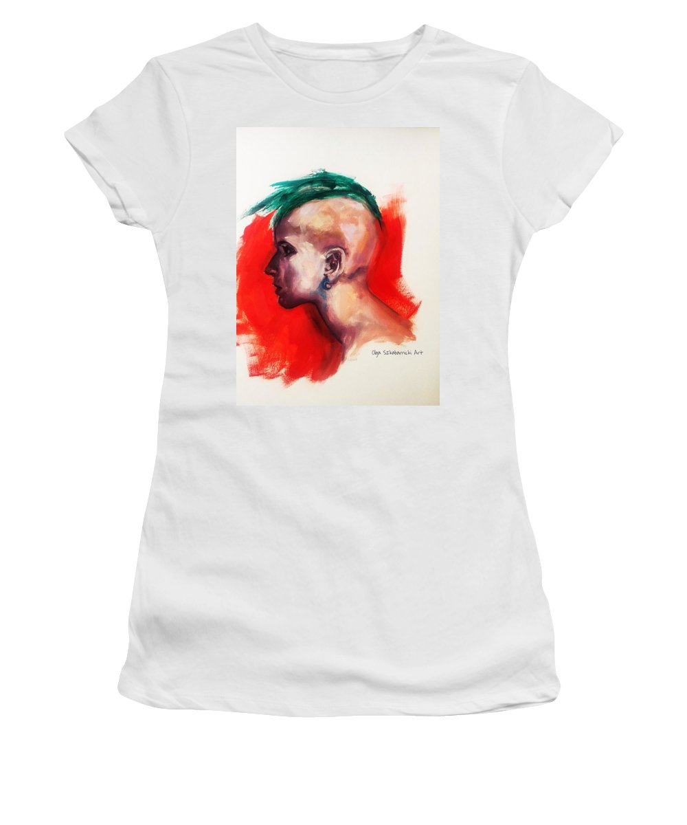 Female Nude Portrait Punk Punkgirl Alternative Altgirl Green Red Mohawk Hairstyle Shavedhead Shaved Bald Determination Focus Women's T-Shirt (Athletic Fit) featuring the painting Tribal by Olga Szkabarnicki