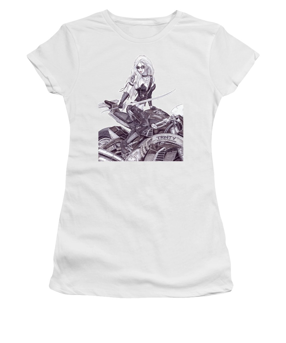 Femme Fatale Women's T-Shirt (Athletic Fit) featuring the drawing Trinity by Kristopher VonKaufman