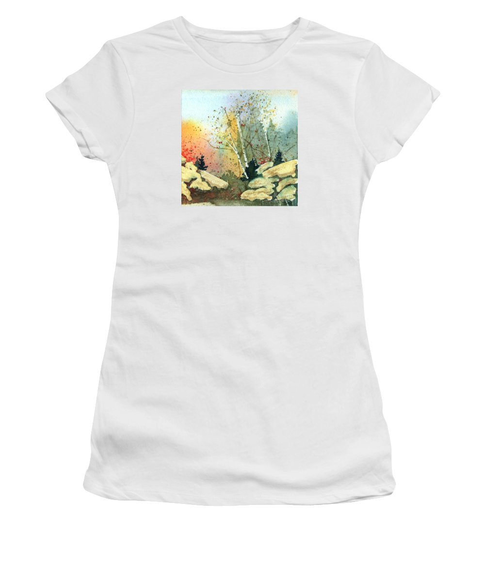 Landscape Women's T-Shirt featuring the painting Triptych Panel 3 by Lynn Quinn