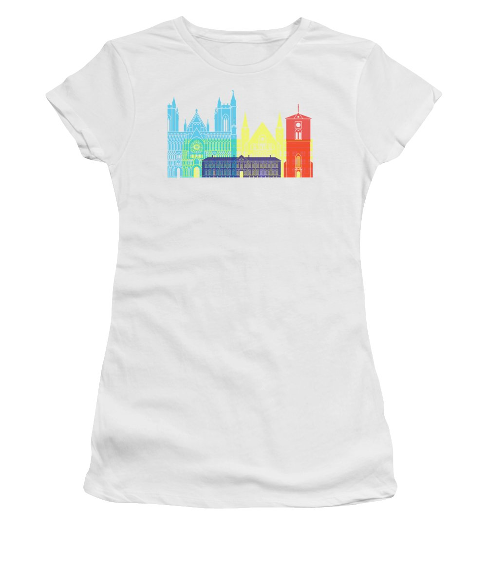 Trondheim Women's T-Shirt featuring the painting Trondheim Skyline Pop by Pablo Romero