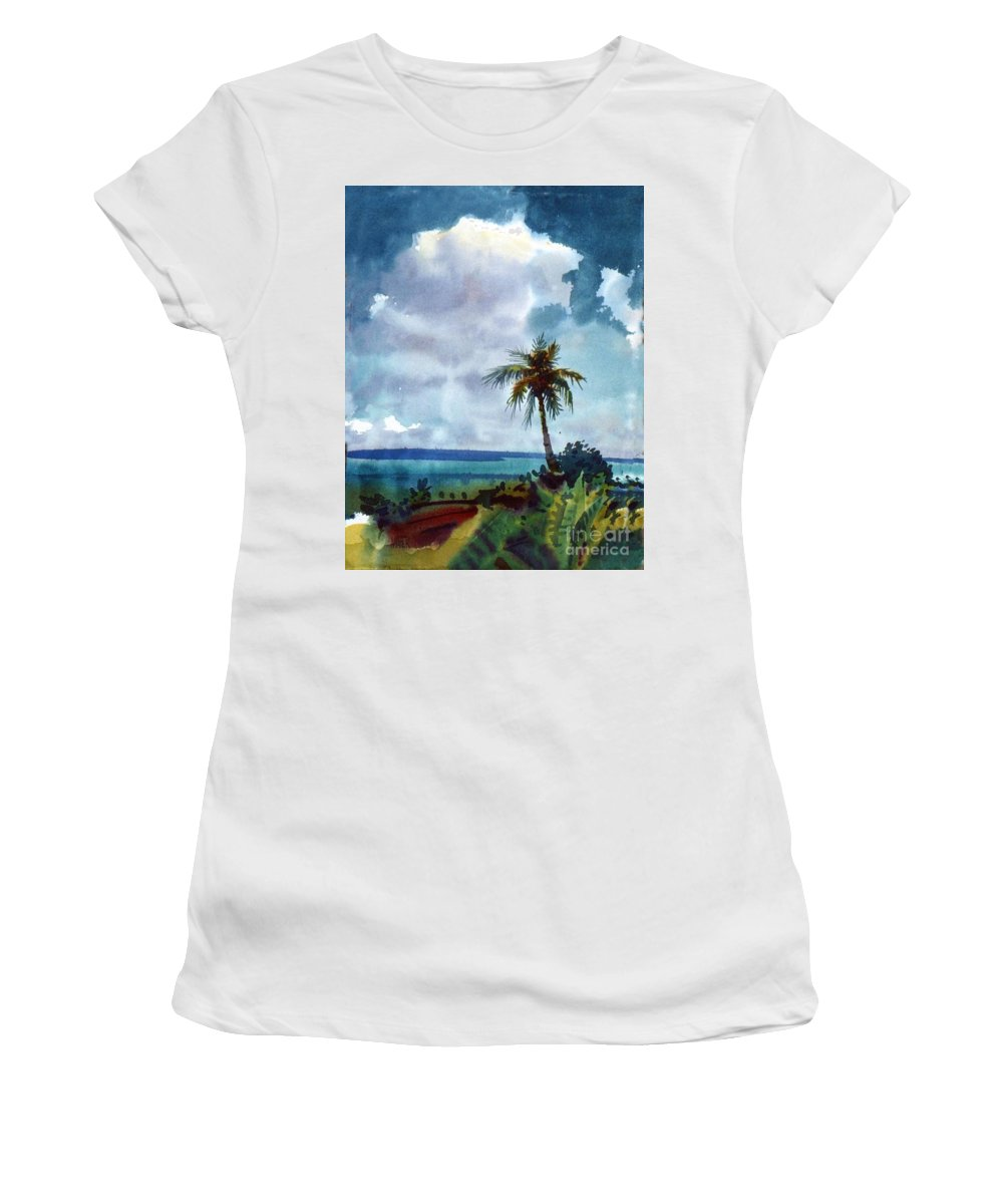 Tropic Women's T-Shirt (Athletic Fit) featuring the painting Tropical Afternoon by Donald Maier