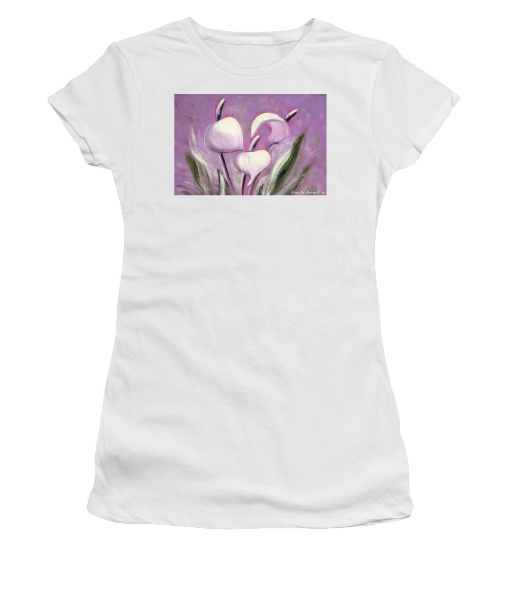 Tropical Women's T-Shirt (Athletic Fit) featuring the painting Tropical Flowers In Pink Color by Gina De Gorna