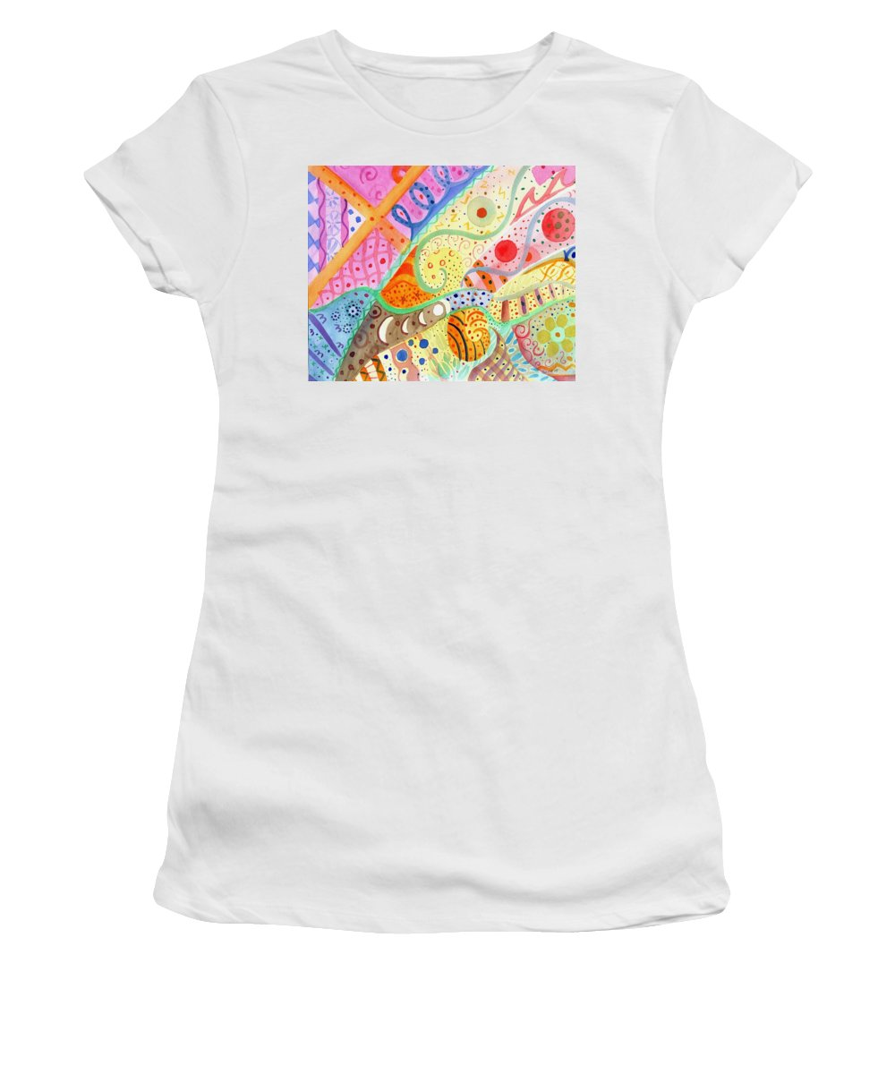 Elephant Women's T-Shirt featuring the painting Trotting Lightly by Helena Tiainen