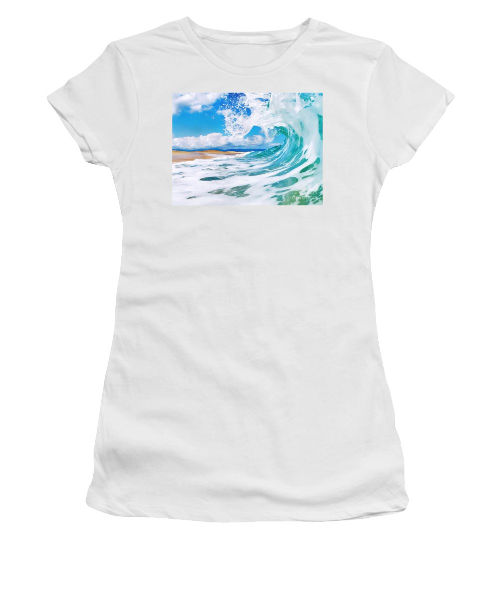 Ocean Women's T-Shirt featuring the painting True Blue by Paul Topp
