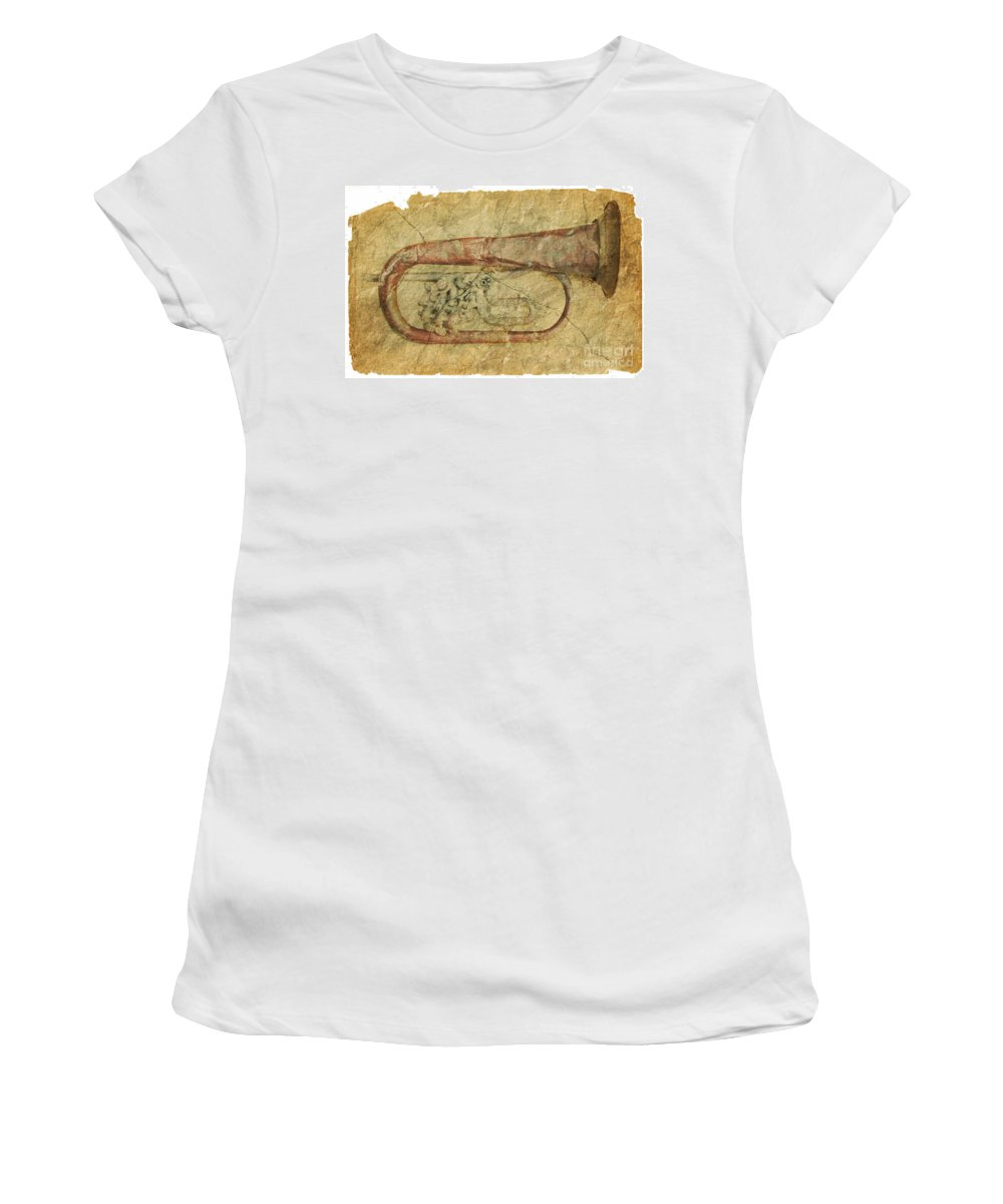 Grunge Women's T-Shirt (Athletic Fit) featuring the photograph Trumpet In Grunge Style by Michal Boubin