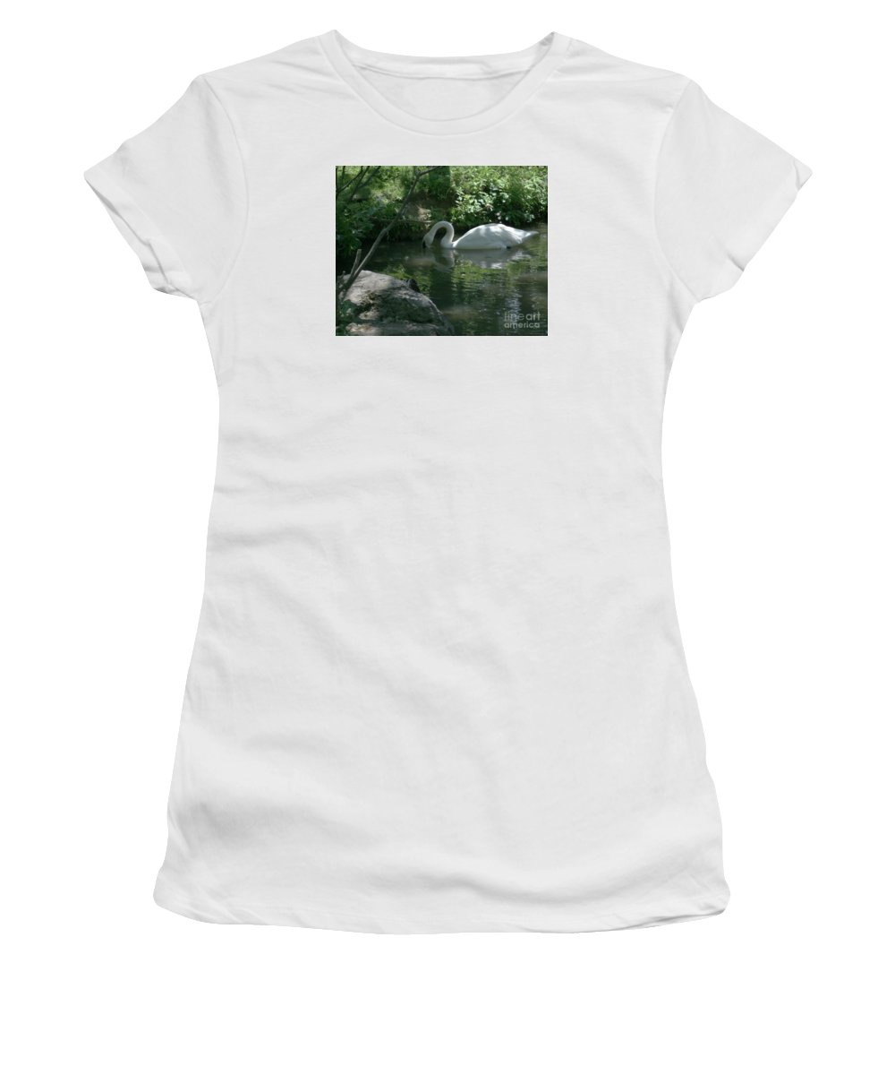 Trumpeter Swan Women's T-Shirt (Athletic Fit) featuring the photograph Trumpeter Swan by Dawn Downour