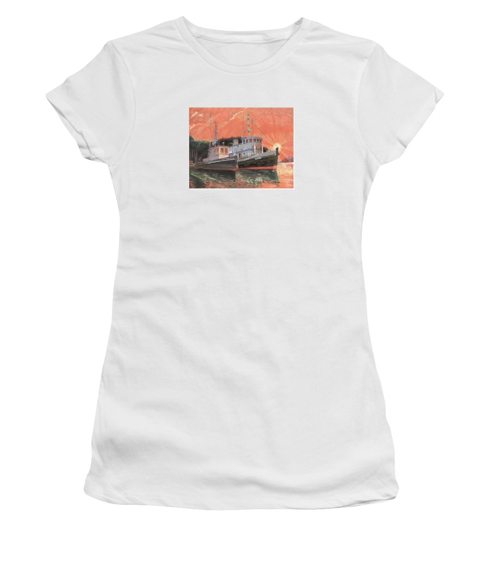 Tug Boats Anchored In Red Sky Women's T-Shirt featuring the painting Tug Boats Anchored In Red Sky by Jack Pumphrey