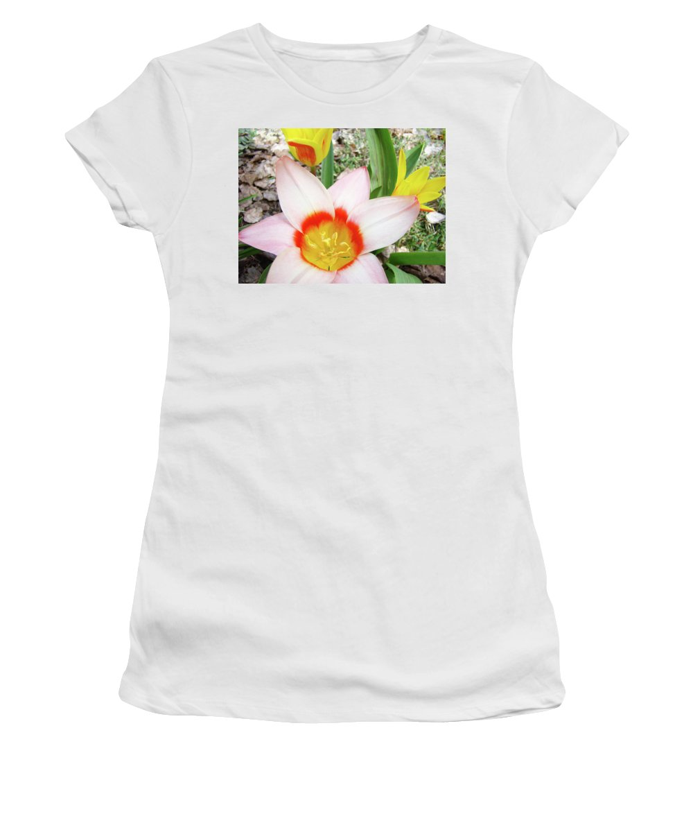 �tulips Artwork� Women's T-Shirt (Athletic Fit) featuring the photograph Tulips Artwork 9 Spring Floral Pink Tulip Flowers Art Prints by Baslee Troutman