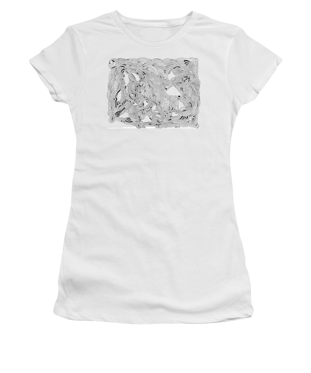 Mazes Women's T-Shirt (Athletic Fit) featuring the drawing Turbulence by Steven Natanson