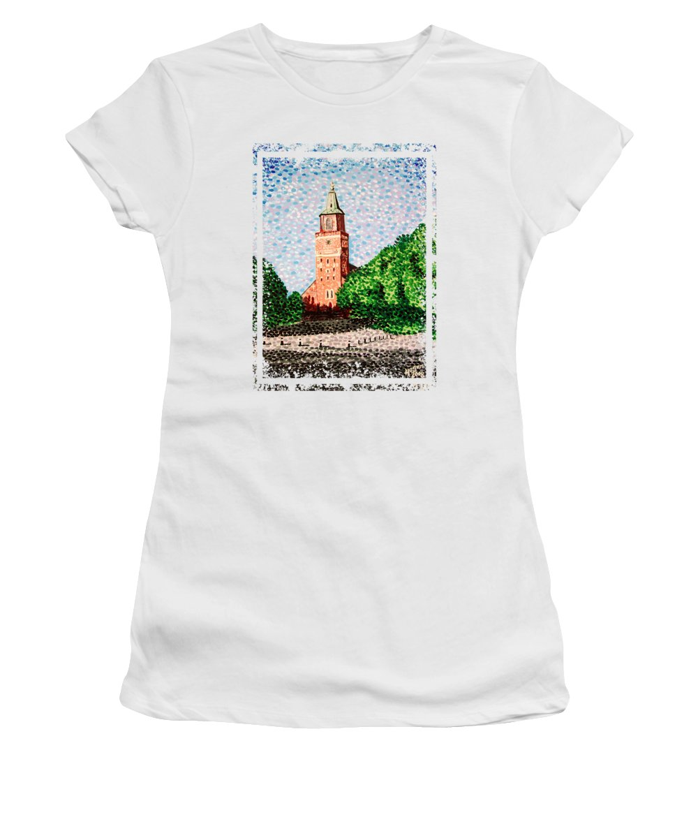 Finnish Women's T-Shirt (Athletic Fit) featuring the painting Turku Cathedral by Alan Hogan