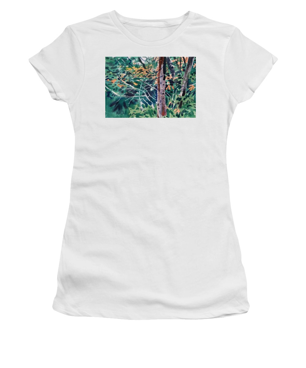 Autumn Foliage Women's T-Shirt (Athletic Fit) featuring the painting Turning Leaves by Donald Maier