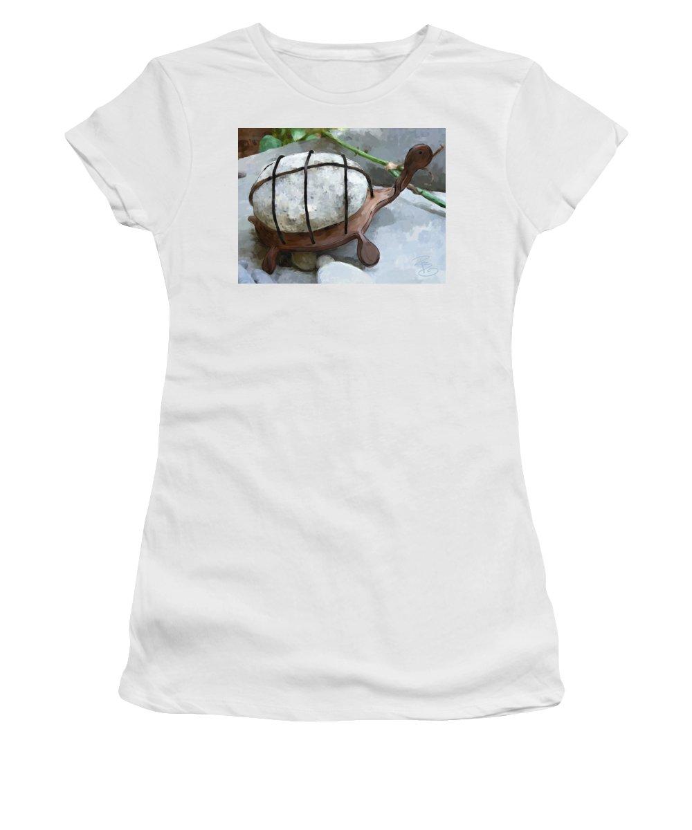Animal Women's T-Shirt featuring the digital art Turtle Full Of Rocks by Debra Baldwin