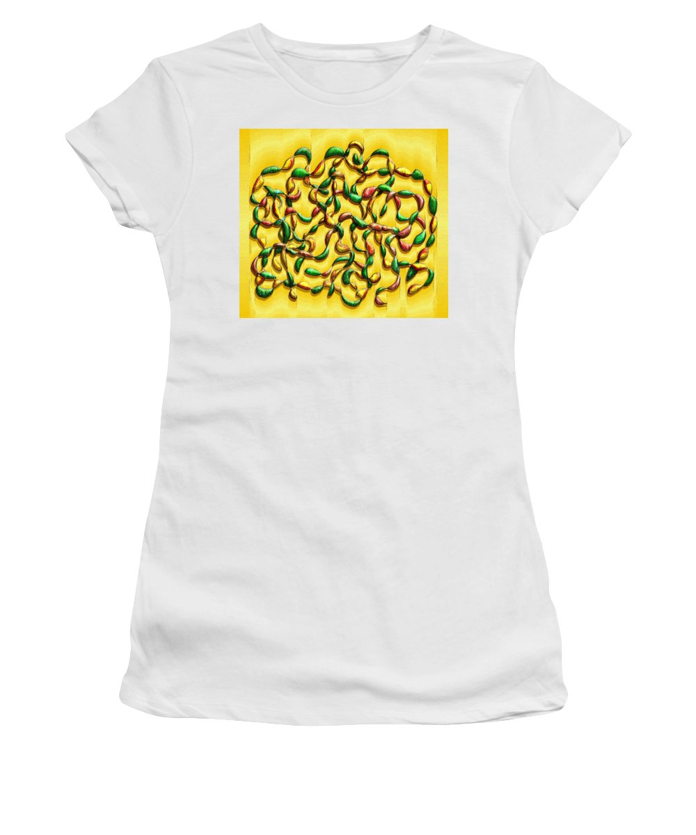 Abstract Women's T-Shirt (Athletic Fit) featuring the digital art Twisted Vines On Yellow by Mark Sellers