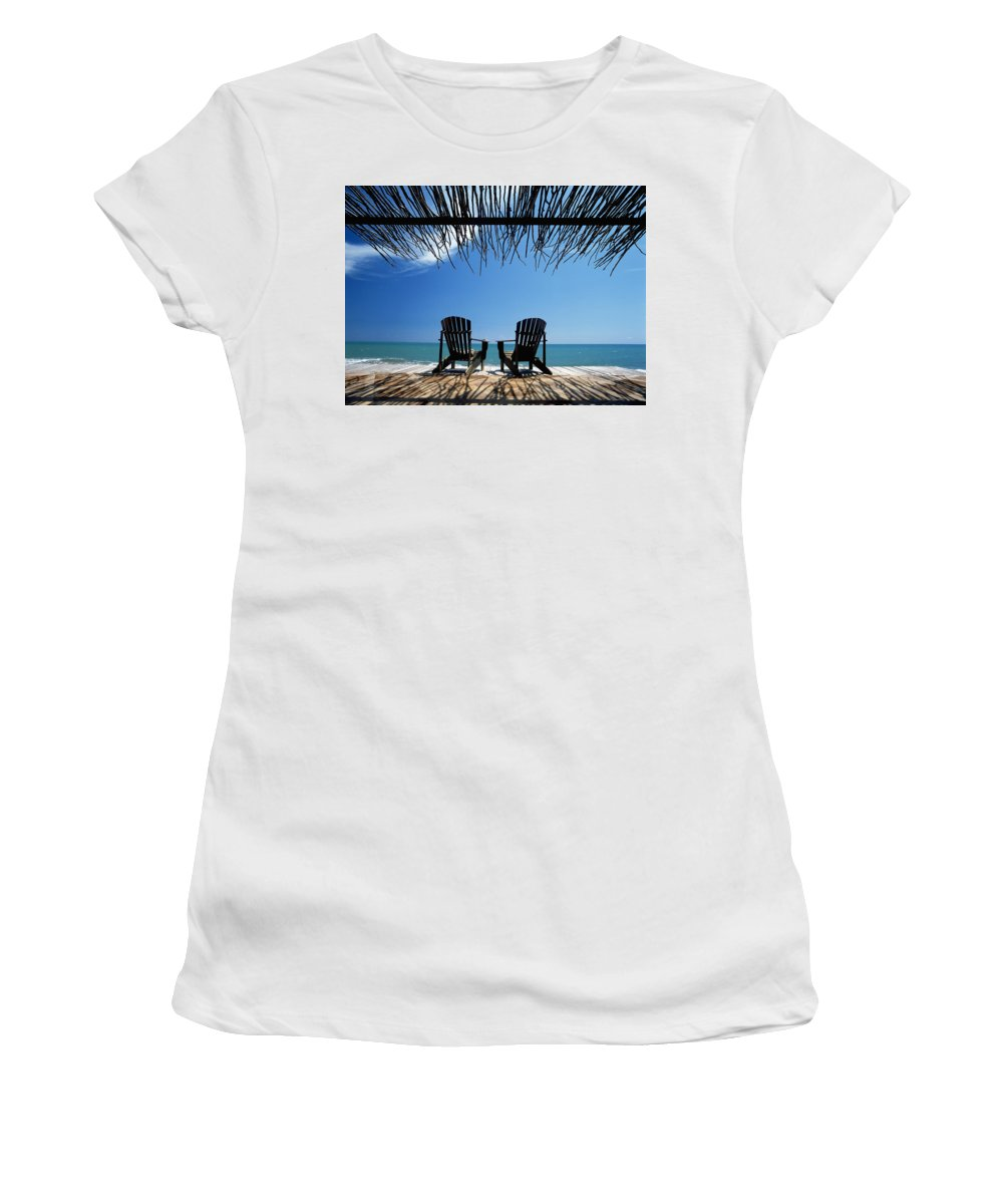 Travel Women's T-Shirt (Athletic Fit) featuring the photograph Two Chairs On Deck By Ocean Shaded By by Axiom Photographic