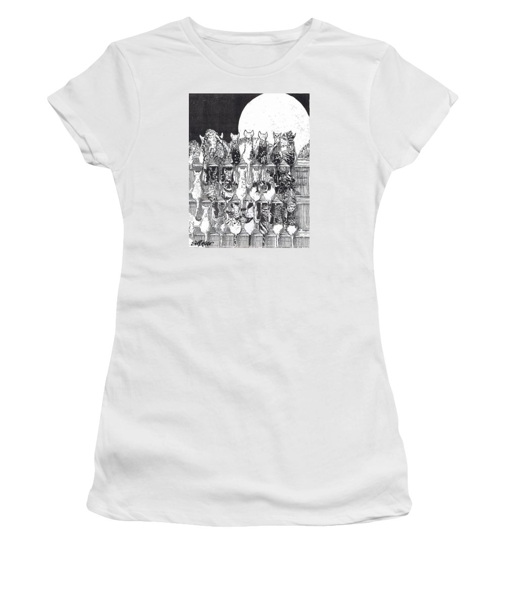 Cats Women's T-Shirt (Athletic Fit) featuring the drawing Two Dozen And One Cats by Seth Weaver
