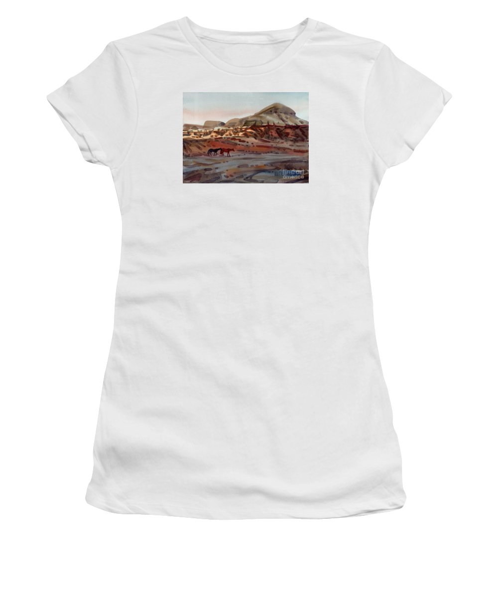 Horses Women's T-Shirt (Athletic Fit) featuring the painting Two Horses In The Arroyo by Donald Maier