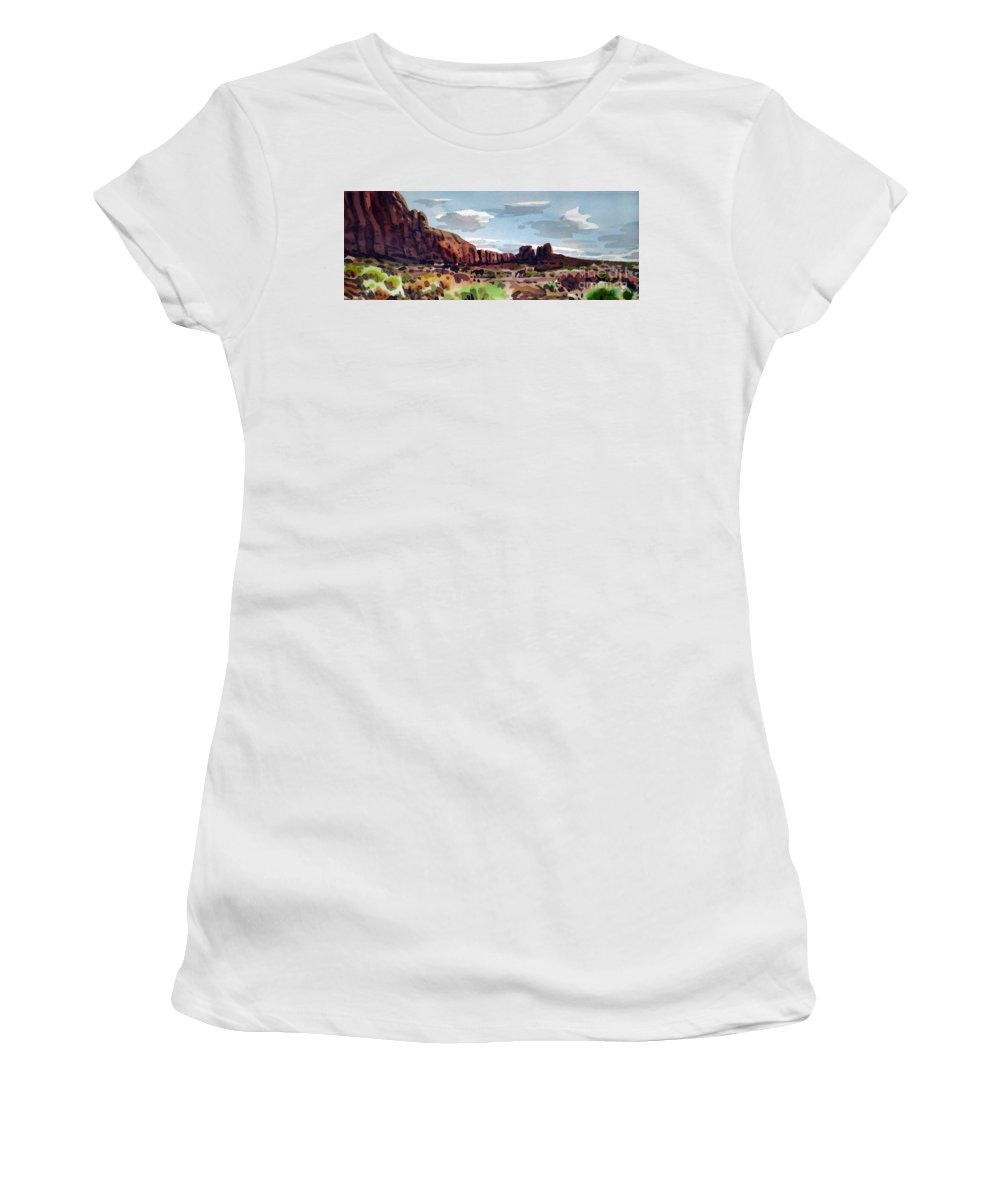 Horses Women's T-Shirt (Athletic Fit) featuring the painting Two Mustangs by Donald Maier