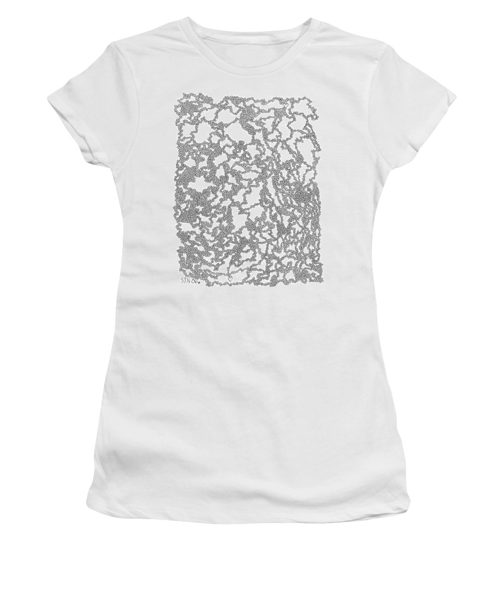 Mazes Women's T-Shirt (Athletic Fit) featuring the drawing Two Way Street by Steven Natanson