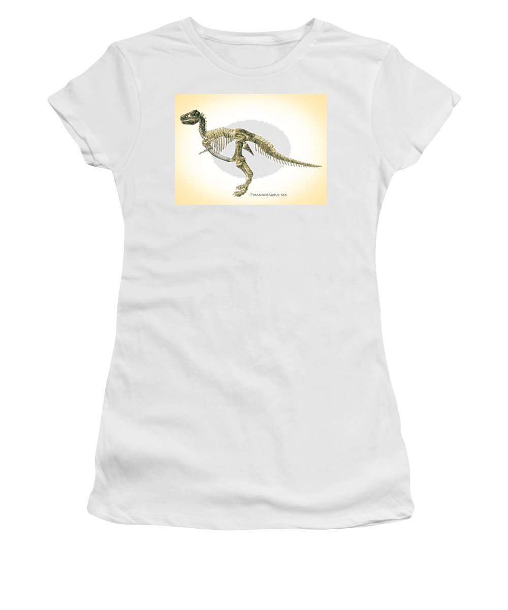 Biology Women's T-Shirt featuring the digital art Tyrannosaurus Rex Skeleton by Bob Orsillo
