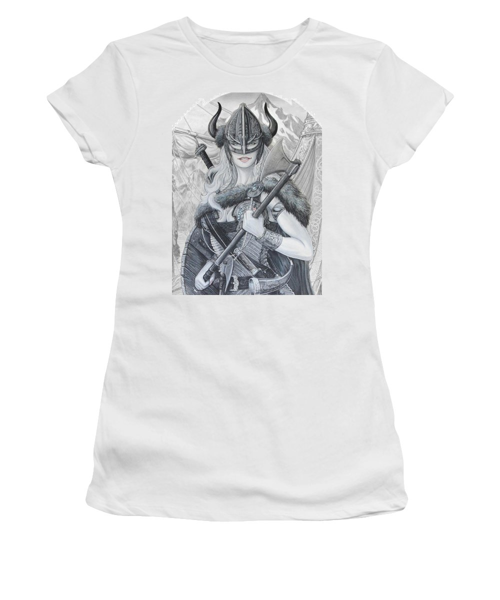 Viking Women's T-Shirt (Athletic Fit) featuring the drawing Tyryja by Kristopher VonKaufman