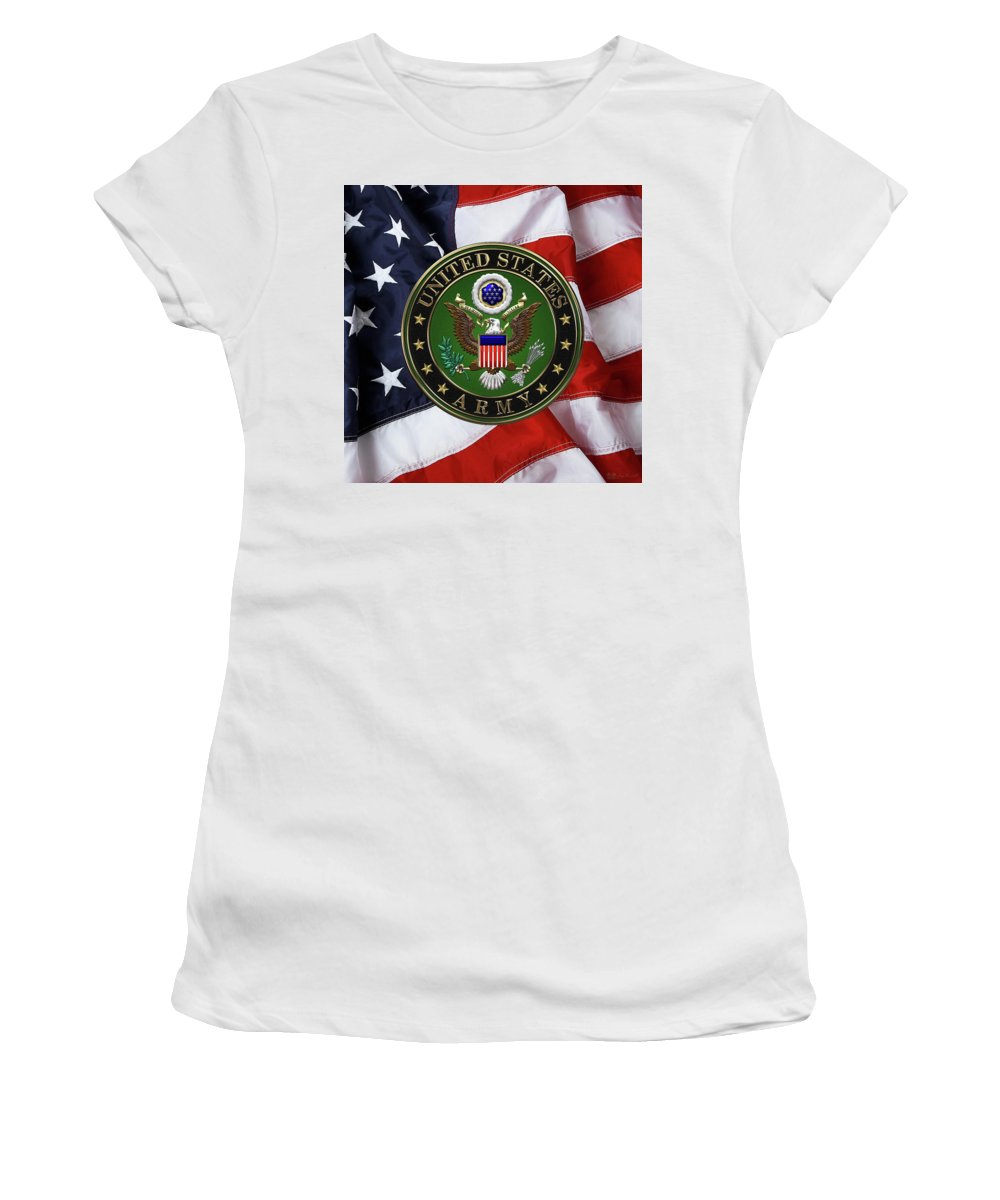 �military Insignia 3d� By Serge Averbukh Women's T-Shirt (Athletic Fit) featuring the digital art U. S. Army Emblem Over American Flag. by Serge Averbukh