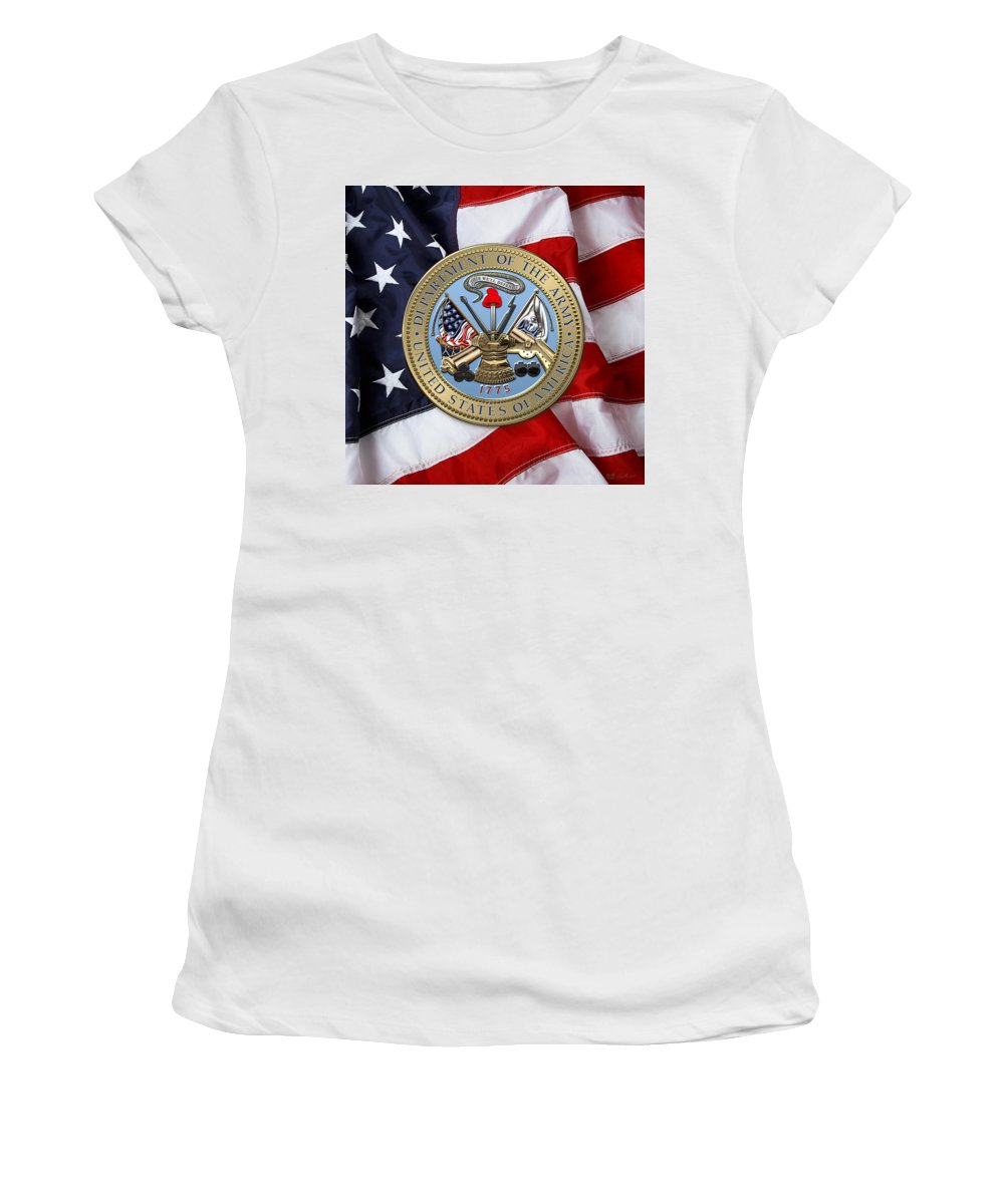 'military Insignia & Heraldry 3d' Collection By Serge Averbukh Women's T-Shirt (Athletic Fit) featuring the digital art U. S. Army Seal Over American Flag. by Serge Averbukh