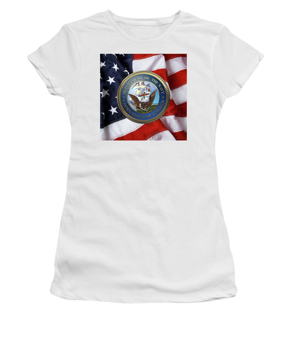 'military Insignia & Heraldry 3d' Collection By Serge Averbukh Women's T-Shirt (Athletic Fit) featuring the digital art U. S. Navy - U S N Emblem Over American Flag by Serge Averbukh