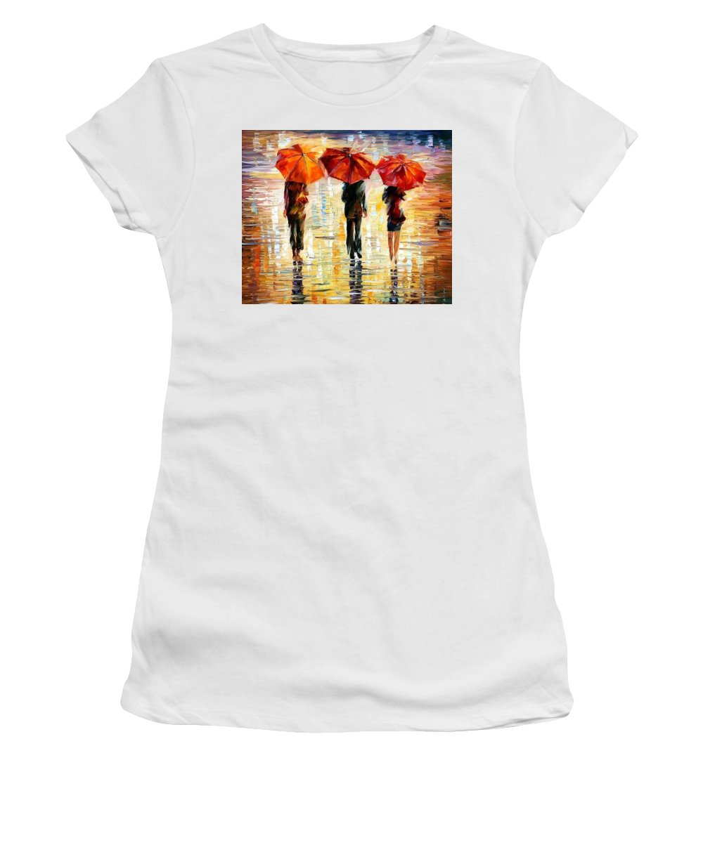 People Women's T-Shirt featuring the painting Umbrellas by Leonid Afremov
