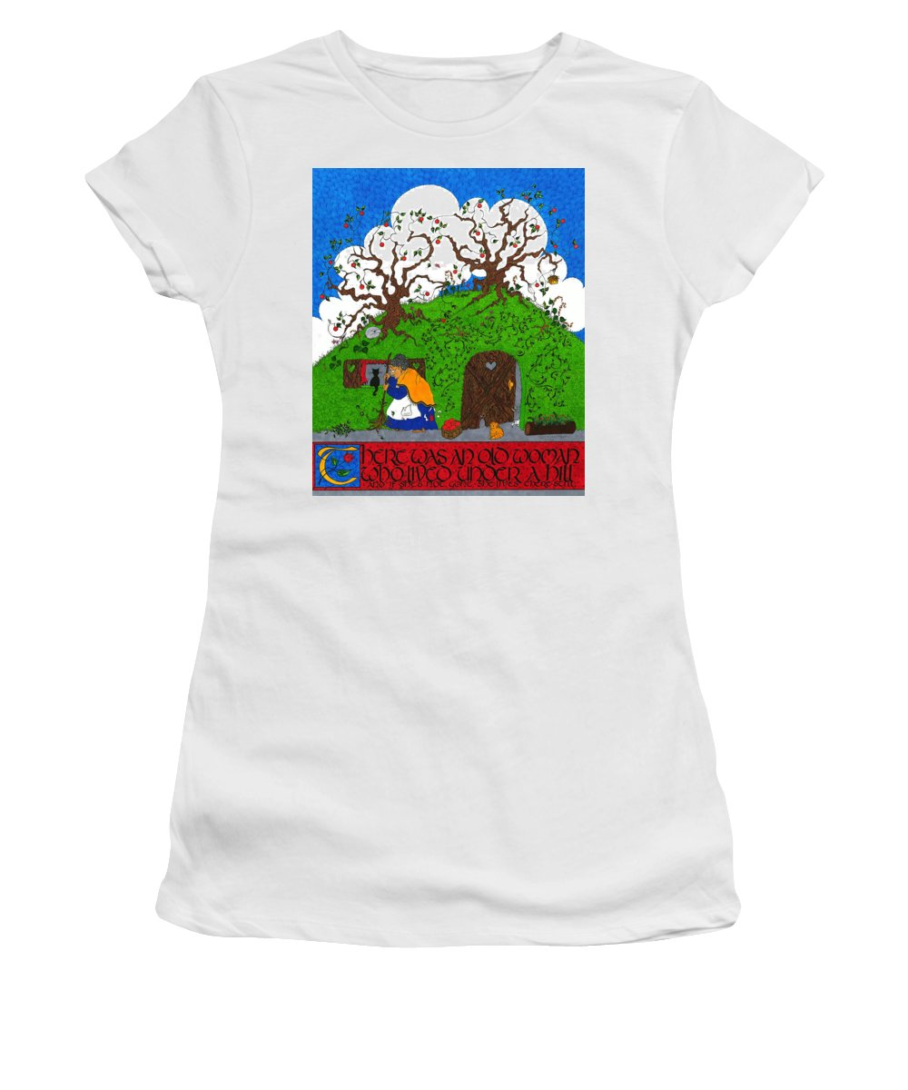 Whimsical Women's T-Shirt (Athletic Fit) featuring the mixed media Under The Hill by Michele Sleight