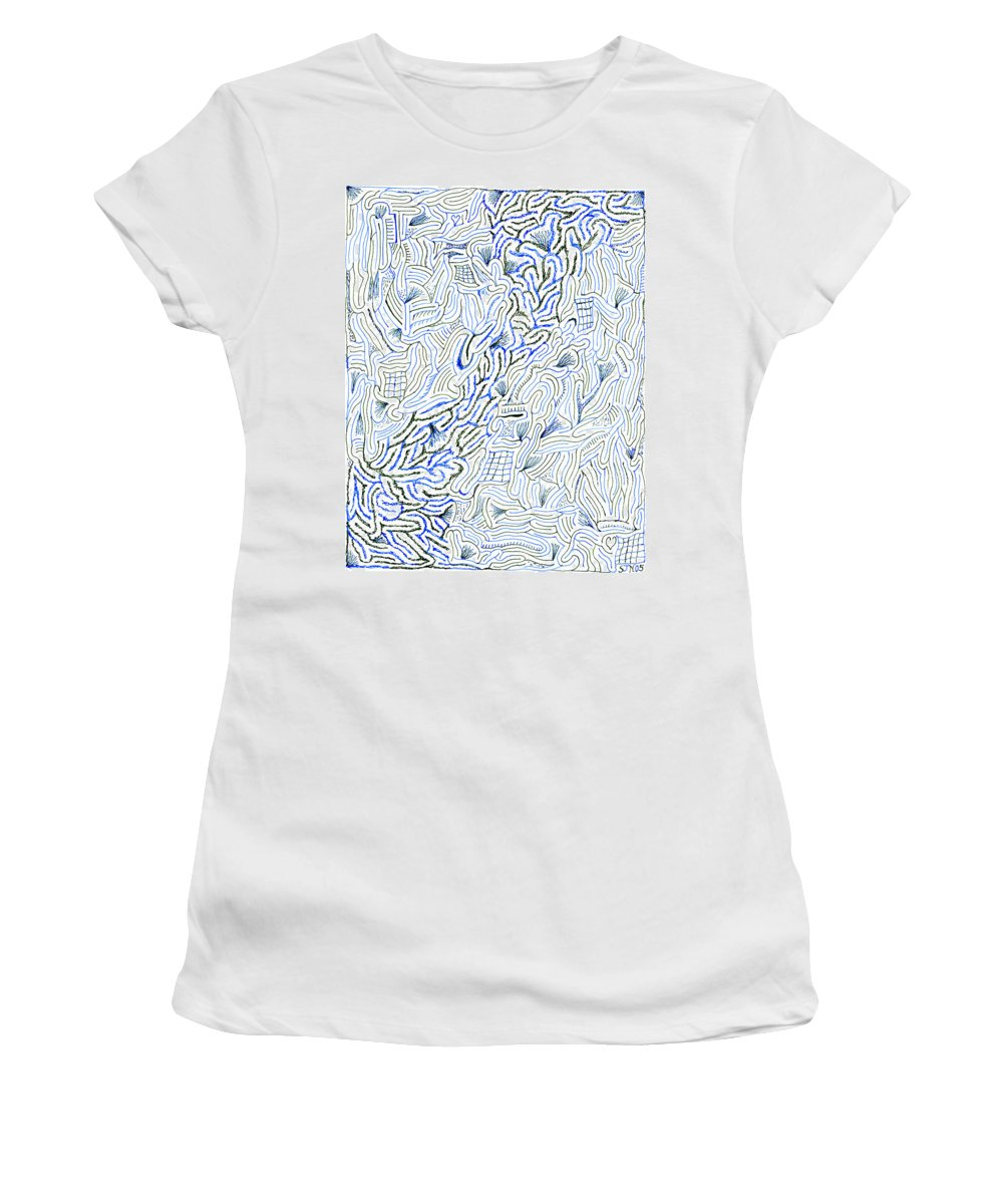 Mazes Women's T-Shirt (Athletic Fit) featuring the drawing Undercurrent by Steven Natanson