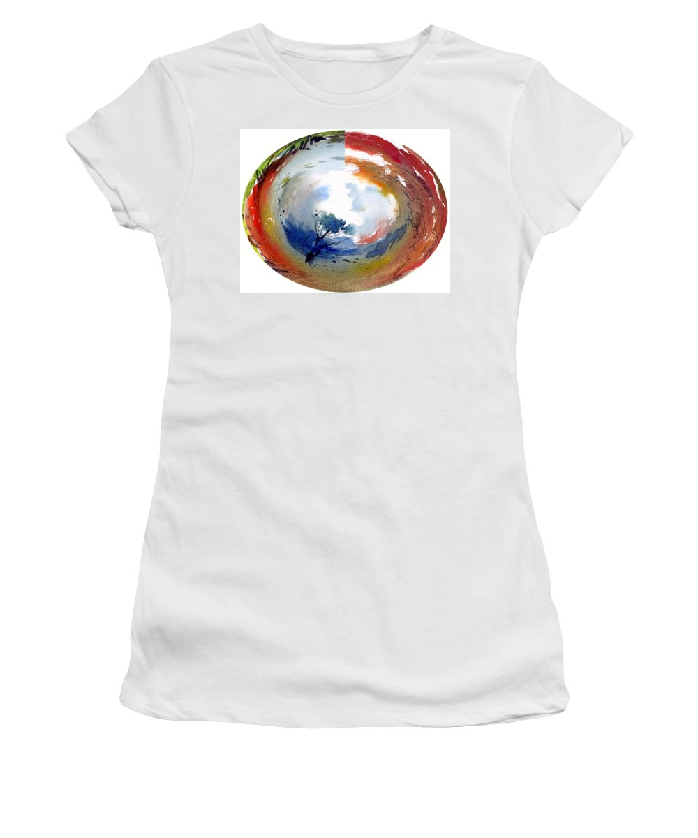 Landscape Water Color Watercolor Digital Mixed Media Women's T-Shirt (Athletic Fit) featuring the painting Universe by Anil Nene