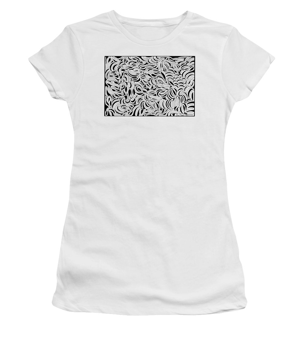 Mazes Women's T-Shirt (Athletic Fit) featuring the drawing Unleashed by Steven Natanson