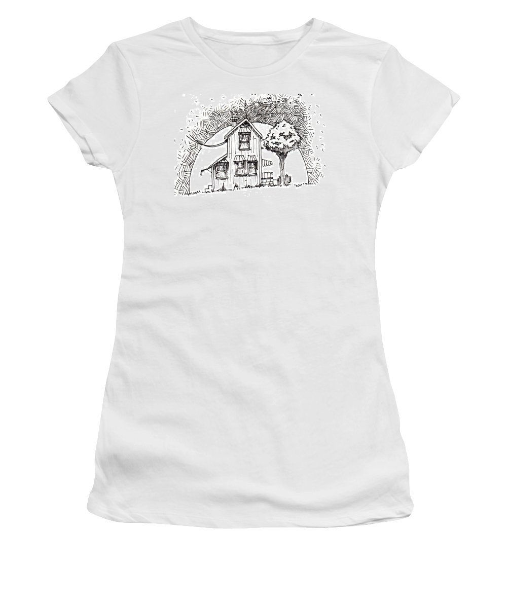 House Women's T-Shirt (Athletic Fit) featuring the drawing Untitled by Tobey Anderson
