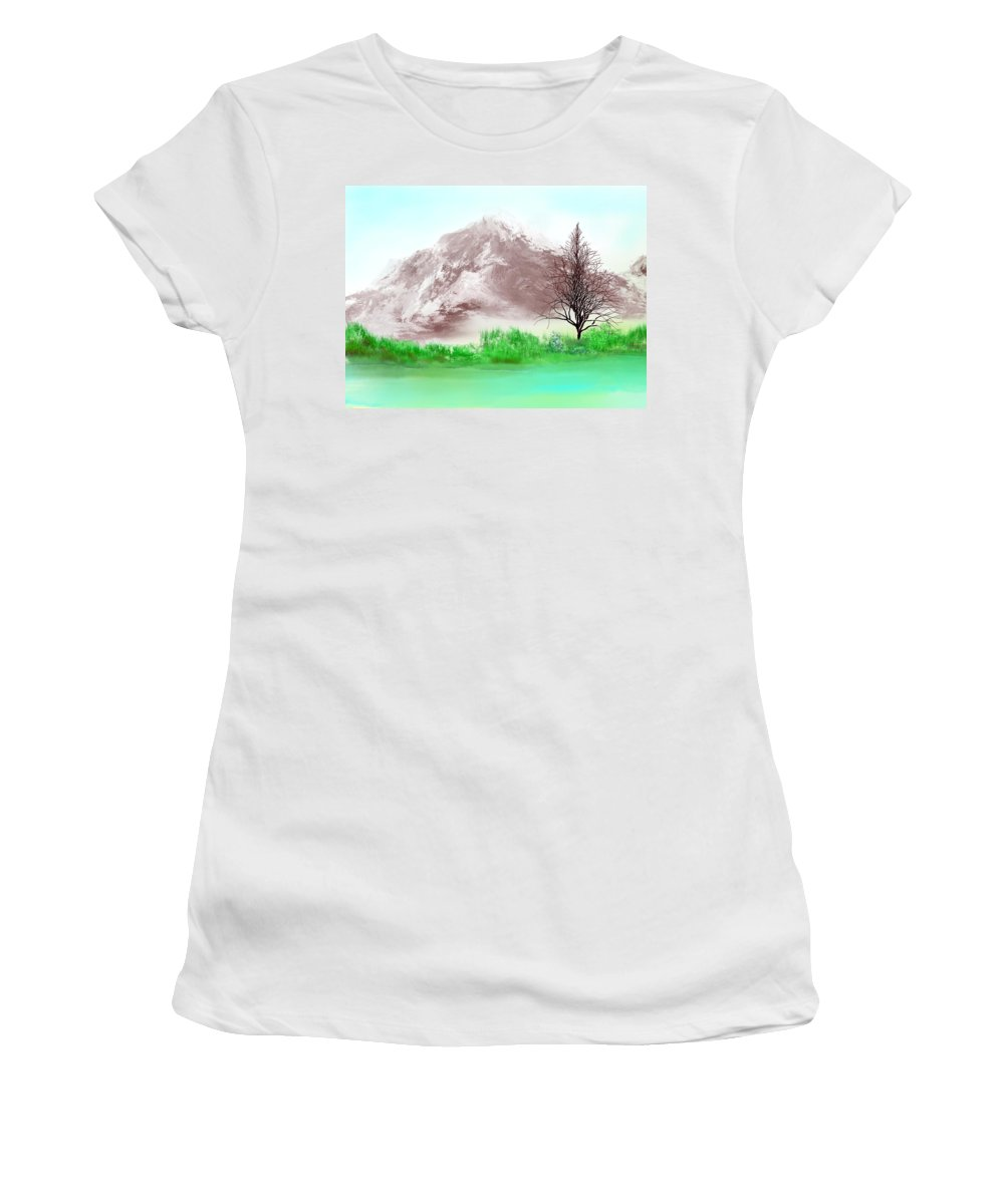 Landscape Women's T-Shirt (Athletic Fit) featuring the digital art Untitled Wip by David Lane
