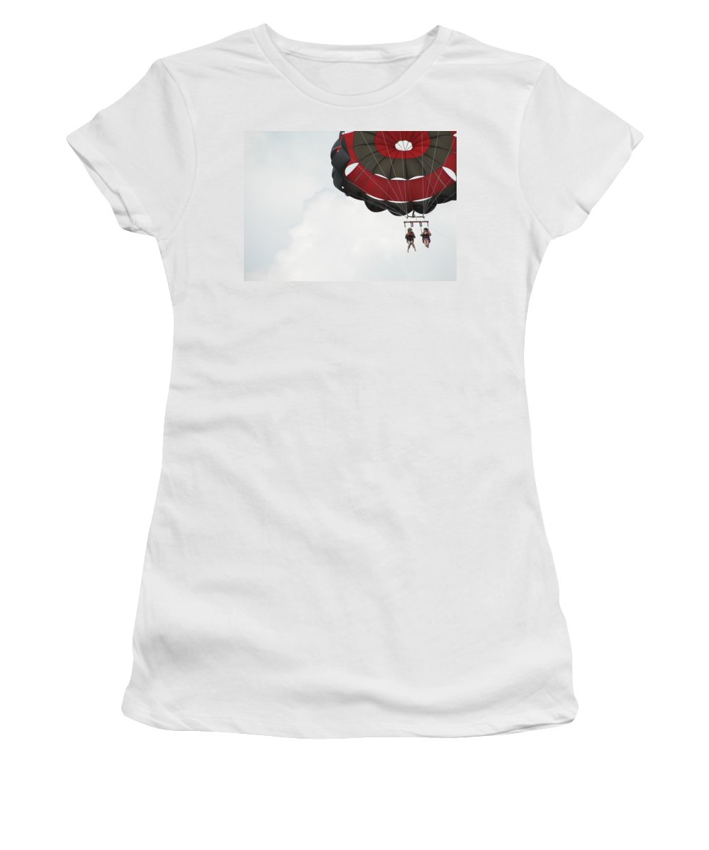 Parasail Women's T-Shirt (Athletic Fit) featuring the photograph Up Up And Away by Kelly Mezzapelle