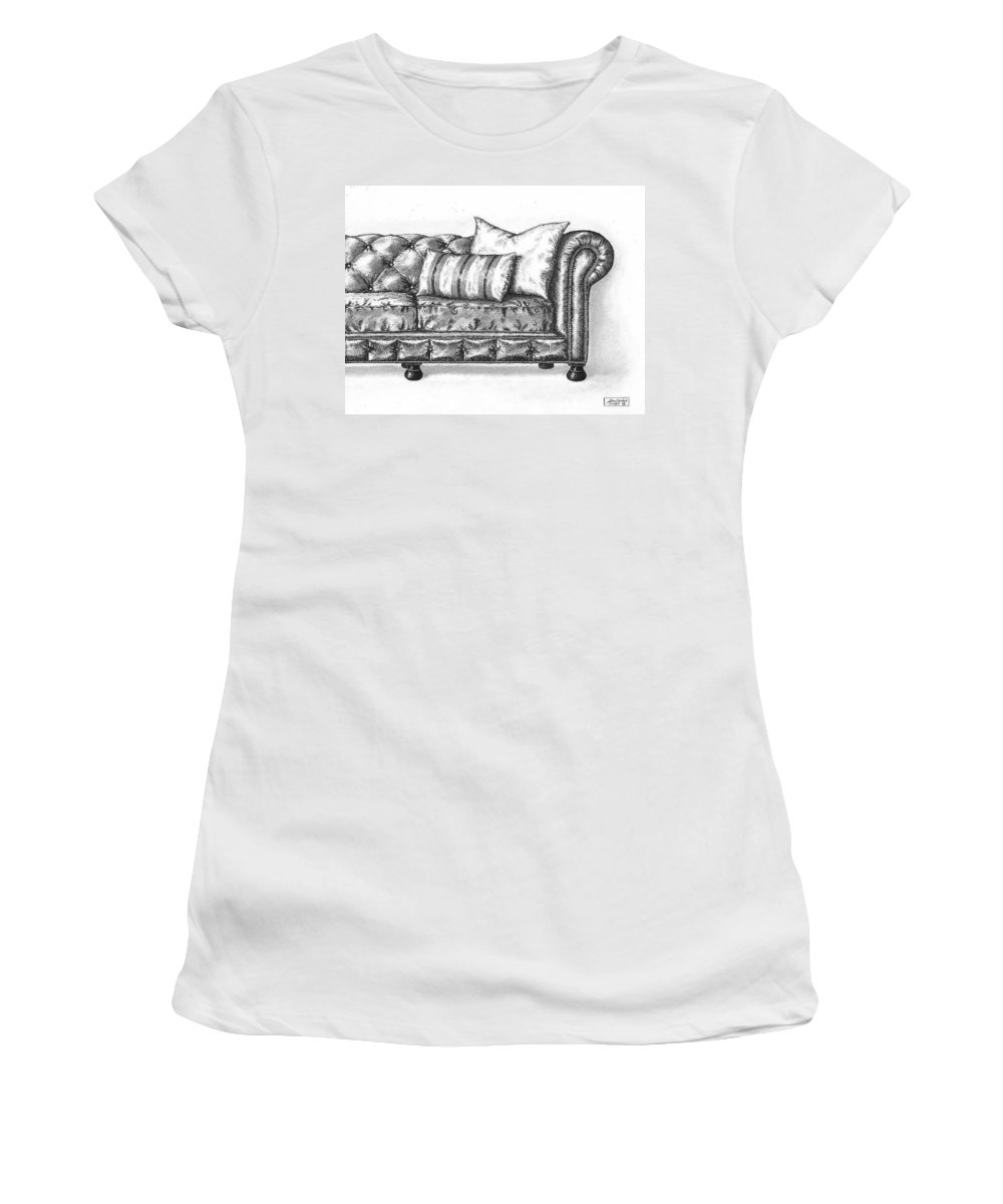 Art Women's T-Shirt (Athletic Fit) featuring the drawing Upholstered by Adam Zebediah Joseph