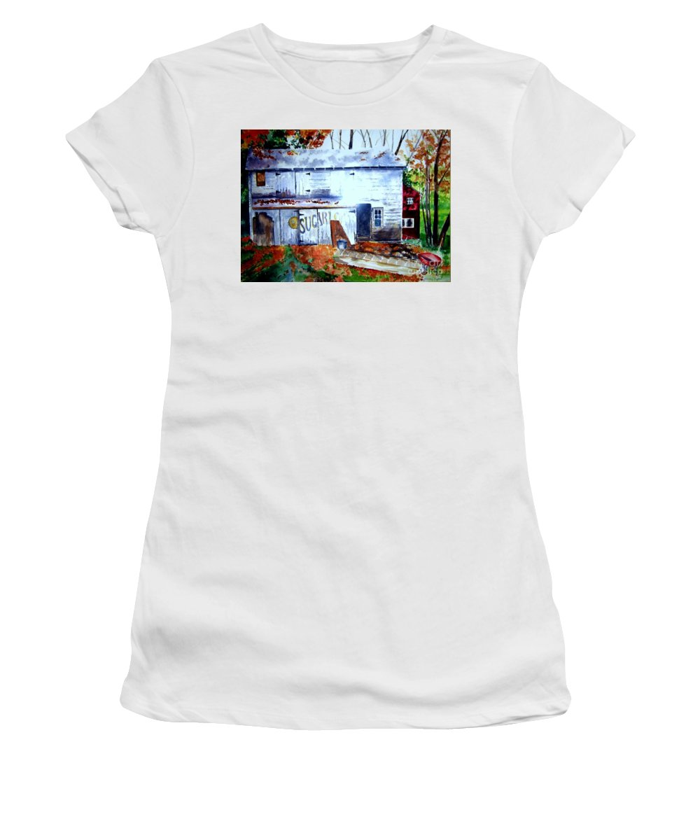 Autumn Women's T-Shirt (Athletic Fit) featuring the painting Upstate Barn by Sandy Ryan