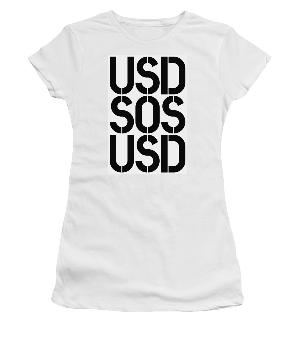Usd Women's T-Shirt (Athletic Fit) featuring the painting Usd Sos Usd by Three Dots