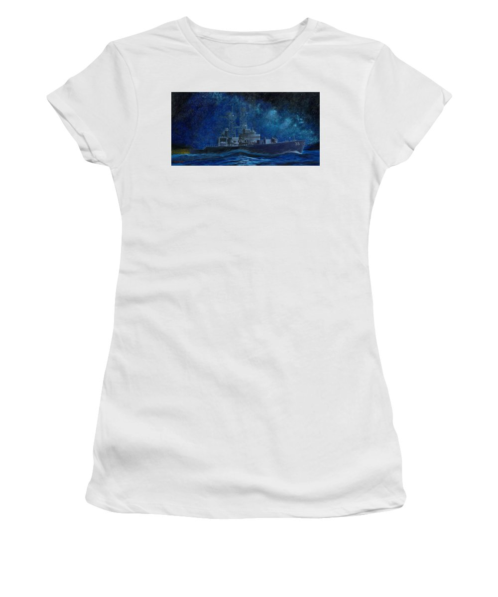 Uss Truxtun Dlgn-35 A Nuclear-powered Cruiser At Sea At Night Under The Milky Way Women's T-Shirt (Athletic Fit) featuring the painting Uss Truxtun Dlgn-35 A Nuclear-powered Cruiser At Sea At Night Under The Milky Way by George Bieda