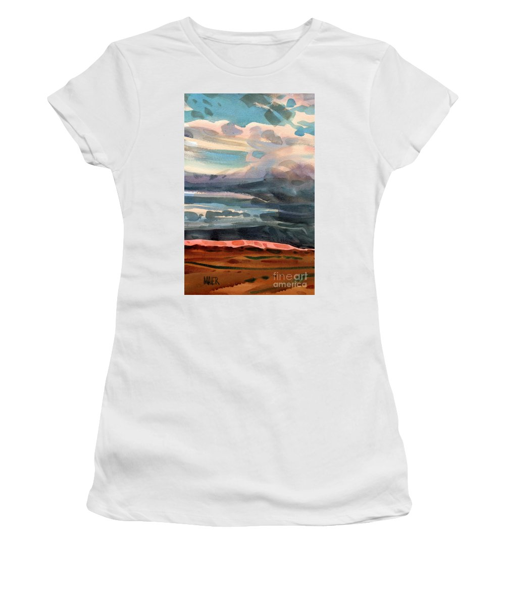 Western Landscape Women's T-Shirt (Athletic Fit) featuring the painting Utah Skyline by Donald Maier