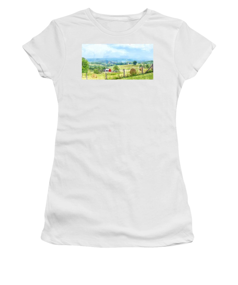 Valley Women's T-Shirt (Athletic Fit) featuring the photograph Valley Farm by Francesa Miller