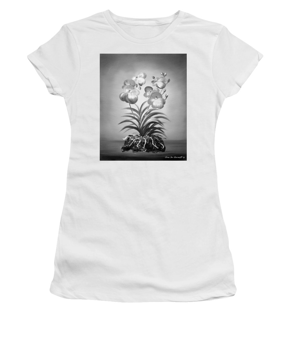 Black And White Women's T-Shirt (Athletic Fit) featuring the painting Vanda Orchids In Black And White by Gina De Gorna