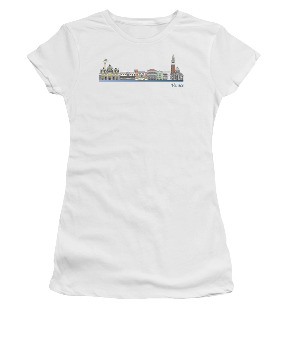Travel Women's T-Shirt featuring the painting Venice Skyline Colored by Pablo Romero