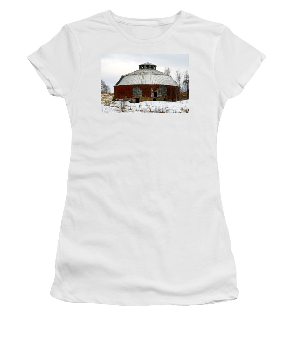 Barn Women's T-Shirt featuring the photograph Vermont Round Barn by Deborah Benoit
