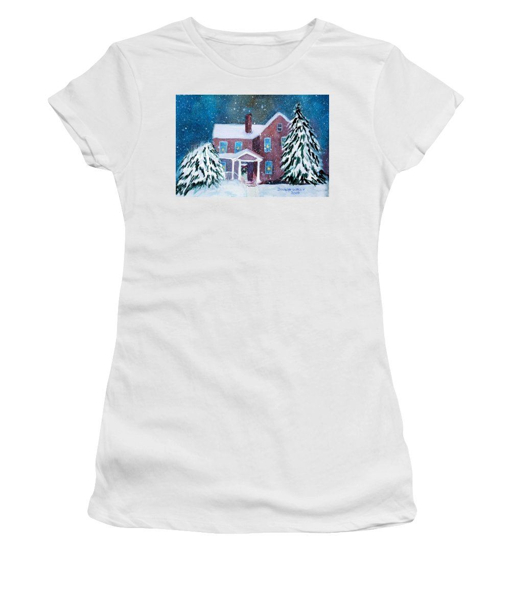 Winter Women's T-Shirt (Athletic Fit) featuring the painting Vermont Studio Center In Winter by Donna Walsh