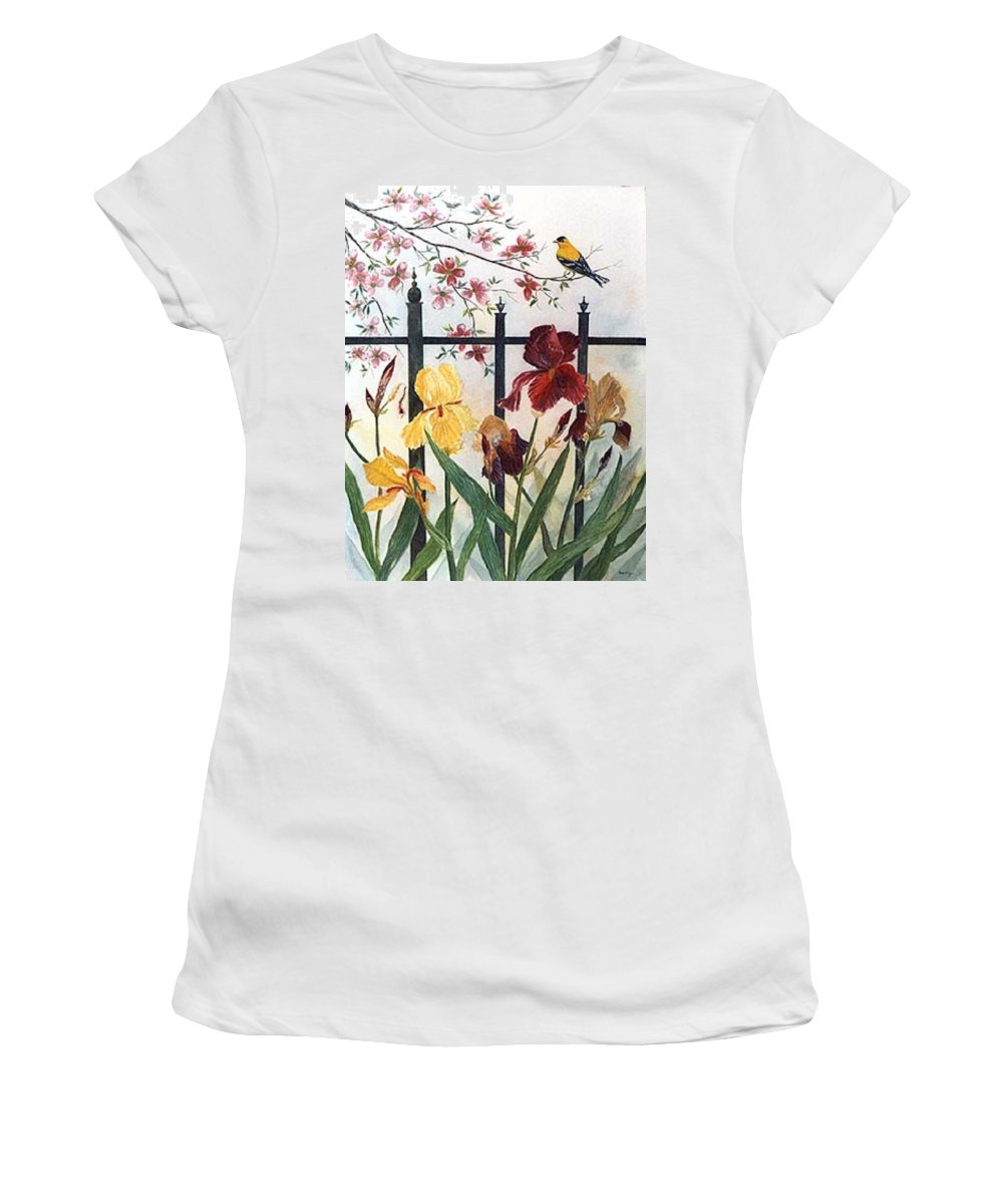 Irises; American Goldfinch; Dogwood Tree Women's T-Shirt featuring the painting Victorian Garden by Ben Kiger