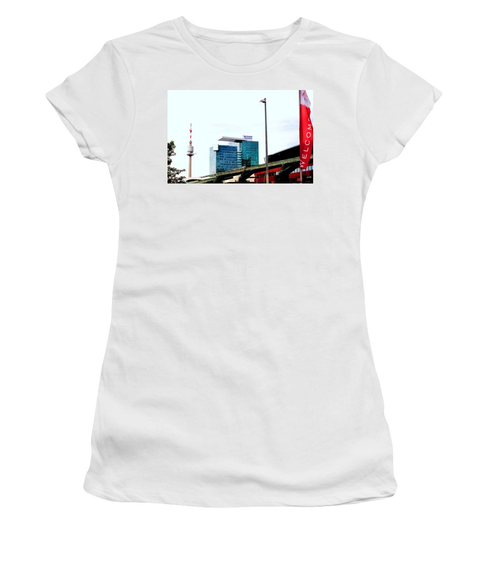 Vienna Women's T-Shirt (Athletic Fit) featuring the photograph Vienna Volksbank by Ian MacDonald