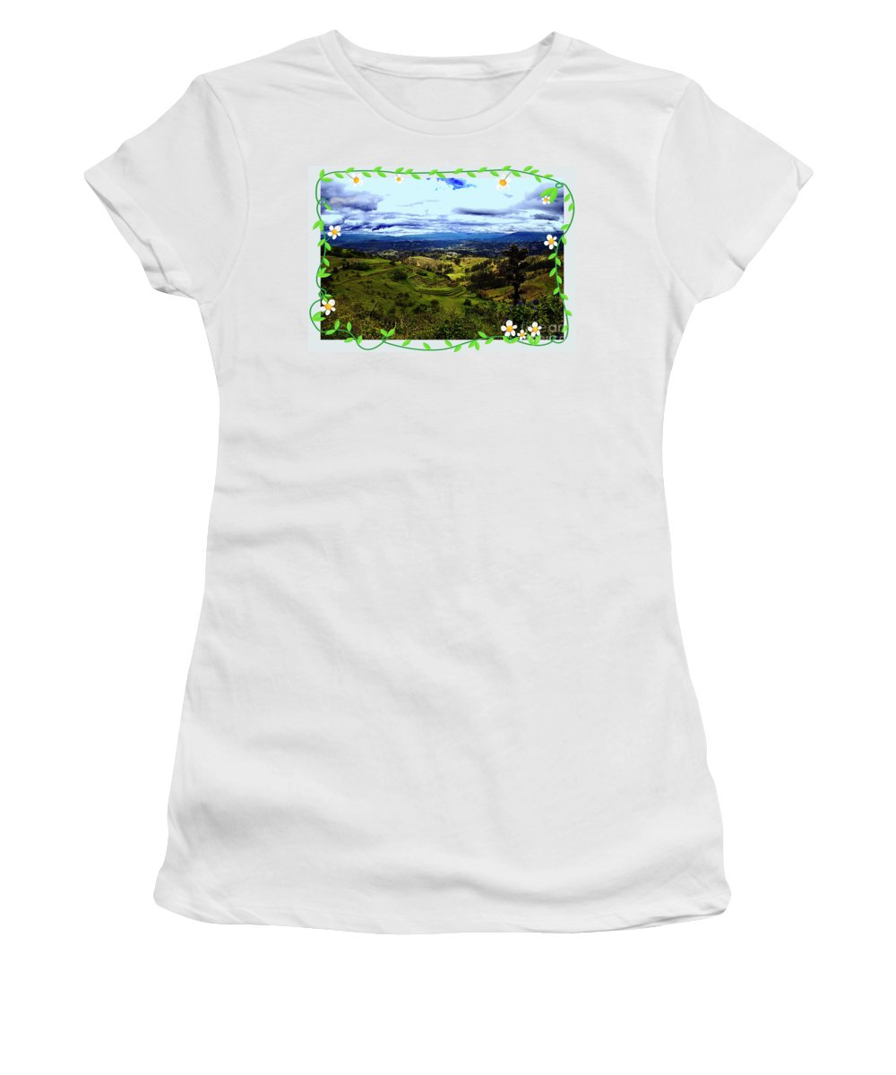 Gold Women's T-Shirt (Athletic Fit) featuring the photograph View And Inca/canari Ruins On Cojitambo II by Al Bourassa