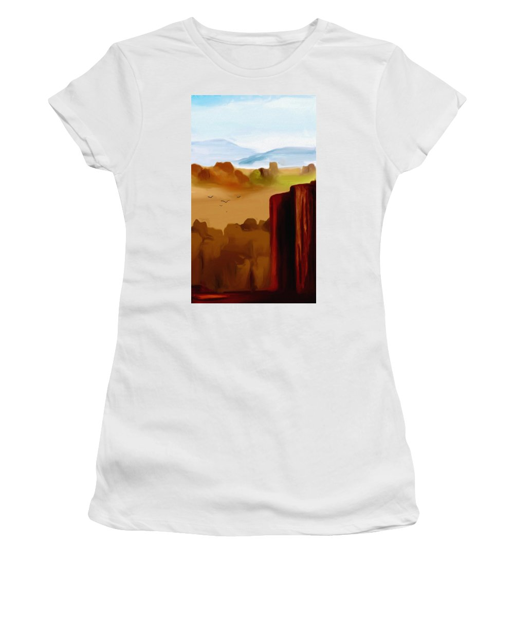 Digital Painting Women's T-Shirt (Athletic Fit) featuring the digital art View From A Butte by David Lane